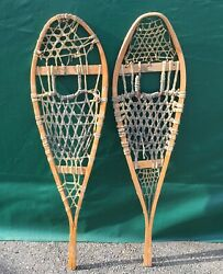 OLD Vintage SNOWSHOES 42x12 Snow Shoes COUNTRY DECOR $47.49