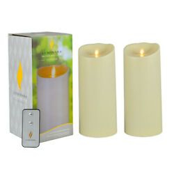 Luminara set of 2 Flameless Candle Outdoor Waterproof LED Candle Moving Wick 9quot; $48.00