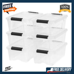 Stackable Pull Storage Plastic Bin Container w Lid Set 12 Quart 6 Box Clothing $42.89