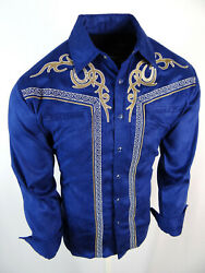 Mens Western Rodeo Shirt Blue Full Suede Faux Stretch Embroidered Cowboy Snap Up $33.95