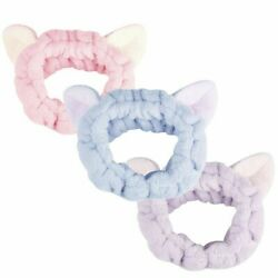 Spa Makeup Headband for Washing Face Cat Ear Designs 3 Pcs Fleece Quality $10.99