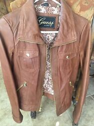 guess womens leather jacket Brown $30.00
