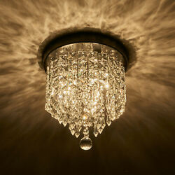 Crystal Chandelier Flush Mount Ceiling Light 2 Bulbs Pendant Lighting Fixture $26.99