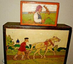 Lot of 2 Vintage Wooden Folk Art Boxes from Russia and or Soviet Union $58.00