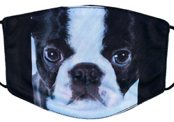 Boston Terrier Dog Puppy Cute Pets Fashion Face Mask Washable Adjustable Cotton $11.99