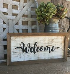 WELCOME Sign Farmhouse Country Decor Rustic Wood Porch Entry Wall Art HP USA 13quot; $29.99