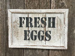 FRESH EGGS Sign Handmade Farmhouse Country Kitchen Wall Decor Rustic Wood 11x7quot; $16.99