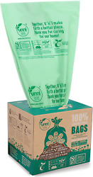 100PC Biodegradable Compost Bags Eco Friendly Trash Bag 2.6 Gal Green Pack Of 2 $25.73