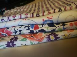 Vintage Material 4 Different Patterns Floral Beautiful 5 Sizes $7.50
