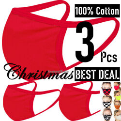 3 Pieces Christmas 100% Cotton Face Mask Men Women Clothing Covering Cover Masks $4.94