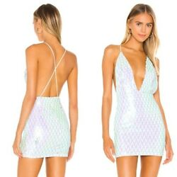 NWT Superdown Revolve Jiani Deep V Mini Dress Sequins Party Cocktail Size Small $29.99
