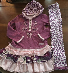 Naartjie Girls Pink Purple Dress amp; Leggings Both Size 7 Fall Winter Stretchy $28.00