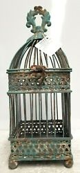 Small Antique Blue Square Iron Bird Cage Hobby Lobby 209817 $20.05