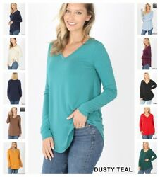 Womens Long Sleeve T Shirt V Neck Casual Basic Tunic Top Long Loose Blouse S 3X $10.95