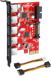 Inateck Pci E To Usb 3.0 5 Ports Pci Express Card And 15 Pin Power Connector $37.99