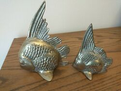 Set of 2 Vintage Brass Fish Figurines 7quot; amp; 5quot; $12.99
