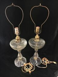 PAIR OF ANTIQUE GLASS SWIRL ELECTRIC LAMPS 25quot; HIGH W BRASS AND HARPS $65.00