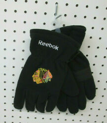 Brand New Men#x27;s NHL Chicago Blackhawks Embroidered Fleece Gloves Reebok OSFA $8.50