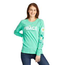Life is Good Women#x27;s Peace Daisies Crusher Long Sleeve Spearmint Green $32.00