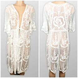 Women#x27;s Lace Cardigan Floral Crochet Sheer Beach Cover Up Ivory Size: One Size $14.99
