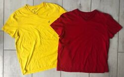 Nautica Mens Lot Of 2 T Shirt Yellow Red V Neck 100% Cotton L $12.34