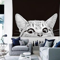 Black and White Cat Tapestry Wall Hanging Throw Blankets Room Modern Decorations $18.52