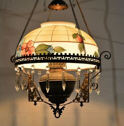 Victorian Hanging Brass Ceiling Fixture Hand Painted Shade Floral amp; Bird Design $295.00