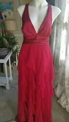 Women#x27;s XL sexy layered formal red cocktail formal dress chiffon very cute $14.99