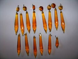 Lot of 14 Vintage Crystal Glass Amber Chandelier Prisms Lot #3 $22.99