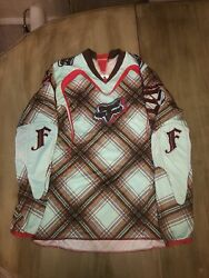 Women's Fox Motocross Jersey Size Small Mint And Brown Plaid $30.00