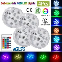 4 Submersible RGB LED Lights Remote Control Multi Color Changing Waterproof Lamp