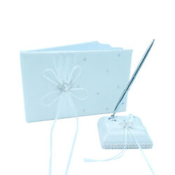 Ribbon Bow Milk White Wedding Guest Book Pen Pen Stand Set in Silk Bow Knot $19.99