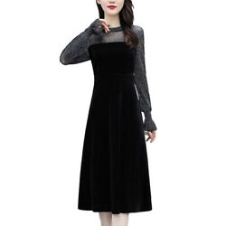 Womens Long Sleeve Casual Midi A Line Dress Formal Evening Party Dresses Gown $16.52