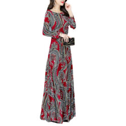 Womens Long Sleeve Long Maxi Dress Ladies Retro Printed Party Cocktail Dresses $18.04