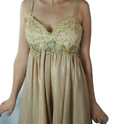 Aspeed Dress Gold Beaded Sequin Party Prom Straps Size L Empire $35.00