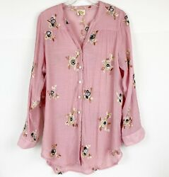 Fig and Flower Sz XL Anthropologie Boho Tunic Long Sleeve Peasant Top VGUC $34.99