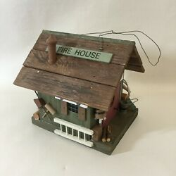 Bird House Fire House With Hanging Cord 6quot; High Vintage Decorative $49.97