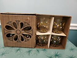 Vintage quot;Set of 7quot; Libbey pyrex like Crazy Daisy Juice Glasses Butterfly Gold $45.99