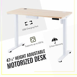 47quot; Adjustable Height Computer Desk for Sitting amp; Standing 220lb Cap amp; USB White $279.99