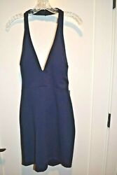 Nordstrom cocktail DRESS halter top side cutouts NAVY SIZE M L BRAND NEW w tags $24.99