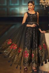 Small Indian Pakistani Anarkali Stitched Dress Wedding Party Sleeves attached $250.00