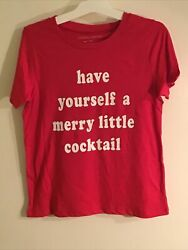Have Yourself A Merry Little Cocktail Women's Red Shirt XS Christmas Funny Party $8.29