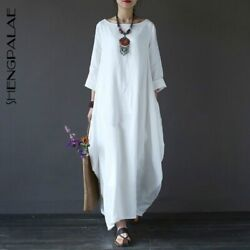 Shengpalae 2020 New Spring Plus Dresses Women 4Xl 5Xl Loose Large Size O Neck Wh $74.77