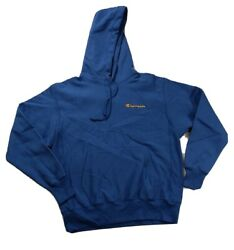 new men champion L S hoodie sweater 100% authentic sample size LARGE logo blue $59.99