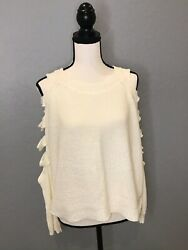 NWT LF Store Chandelier Women Cream Sweater Cut Out Sleeves Small ORIG $158 $29.99