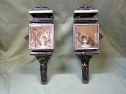 Pair Carriage Hearse Lanterns Lights American Beveled Glass Lamps Lighting $345.00