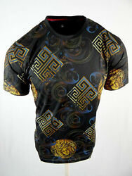 Mens T Shirt Black Designer Italian Style Florals Slim Fit Stretch