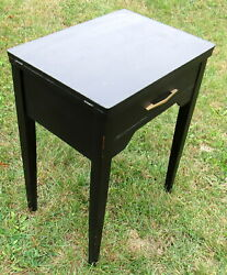 black wooden sewing machine cabinet table painted black $48.50