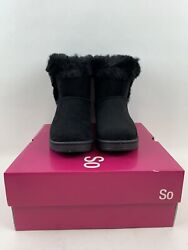 New SO Womens Boots Size 6 Black Paulina Soft Faux Fur Trim Lined Winter $74.00