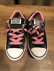 Converse All Star Girls Black Pink Sneakers Size 3 kids $12.50